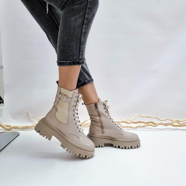 Ботинки на массивной подогве бежевые из натуральной кожи купить