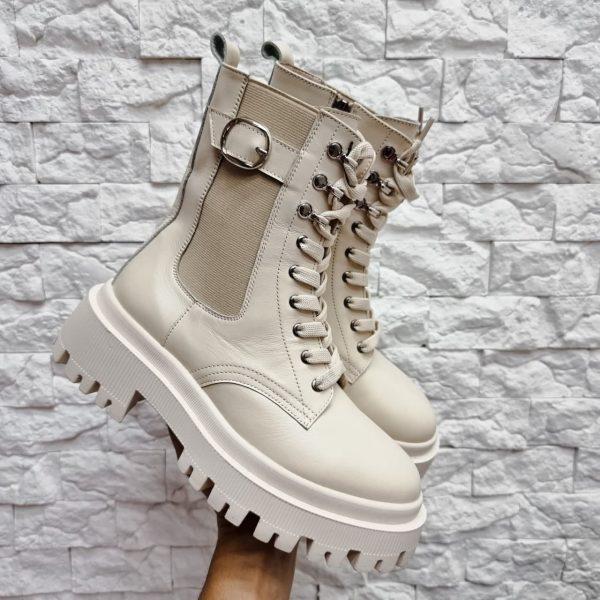 Светло бежевые ботинки из натуральной кожи купить женские
