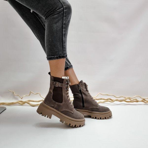 Ботинки женские на масивной подошве натуральная замша цвета визон купить