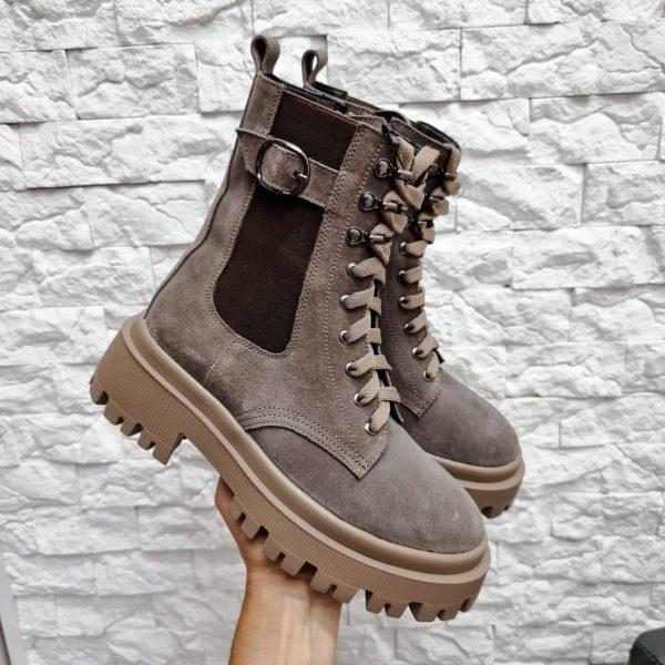 Ботинки темный бежевый замш на протекторной подошве зимние женские купить