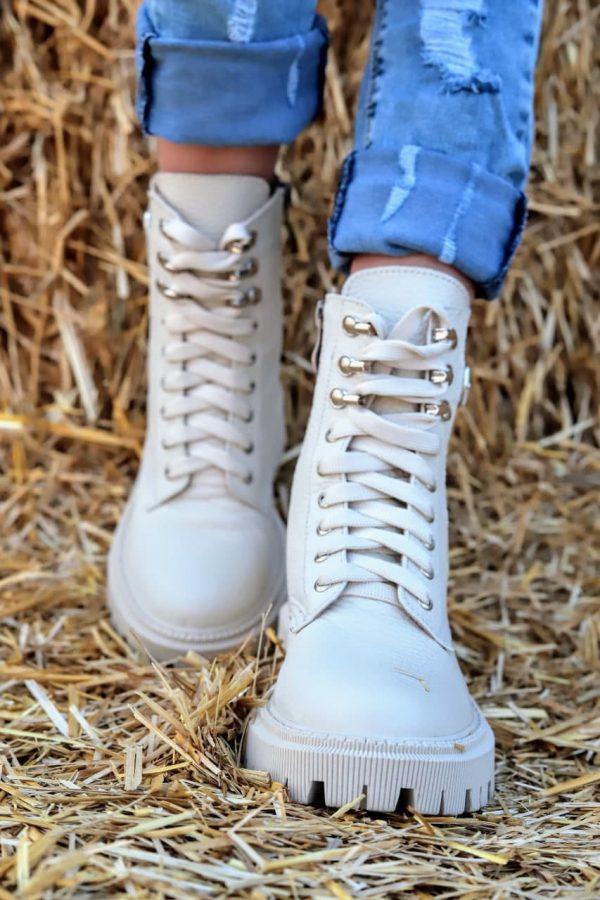 Купить бежевые ботинки из натуральной кожи женские грубые