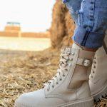 Купить модные бежевые ботинки женские на массивной подошве натуральная кожа