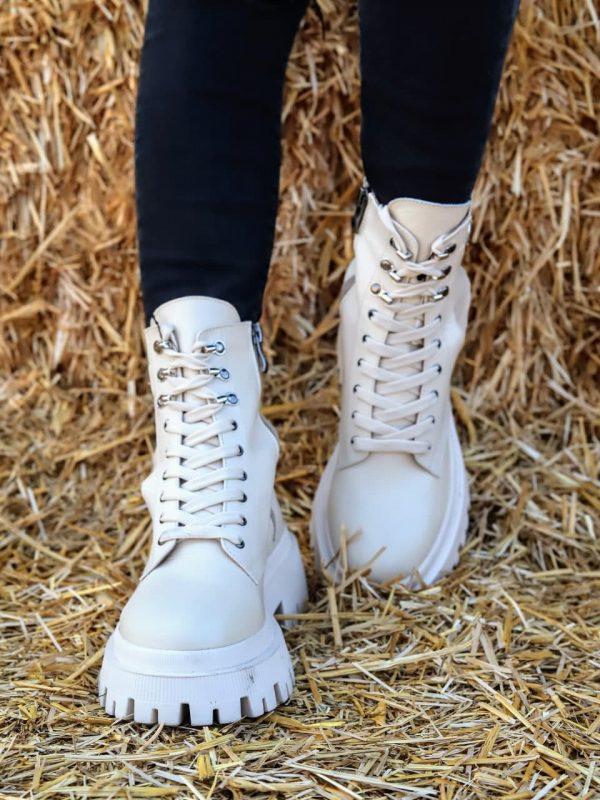 Бежевые ботинки натуральная кожа грубая подошва купить