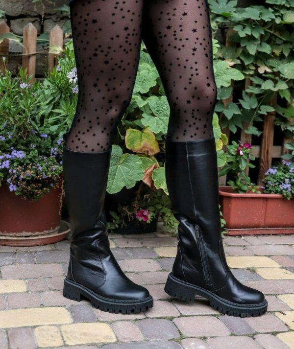 Купить грубые женские сапоги черные натуральная кожа